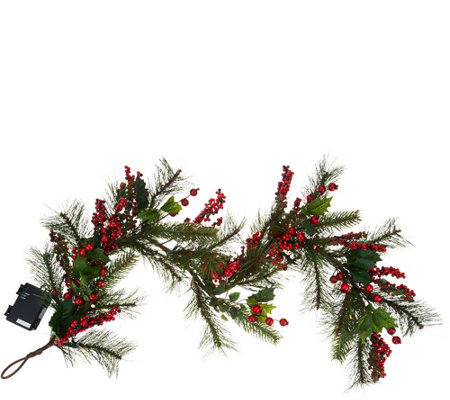 4' Illuminated Red Berry and Holly Garland by Valerie