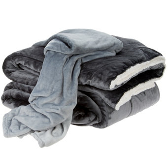 "London Fog King Velvet Comforter w/ 50""x60"" Throw - H210139"