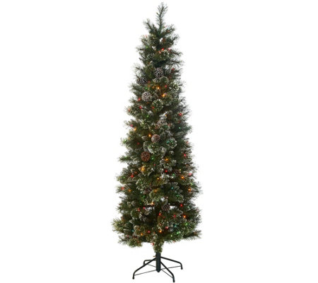 7' Glittery Bristle Pine Incandescent Slim Tree by Valerie