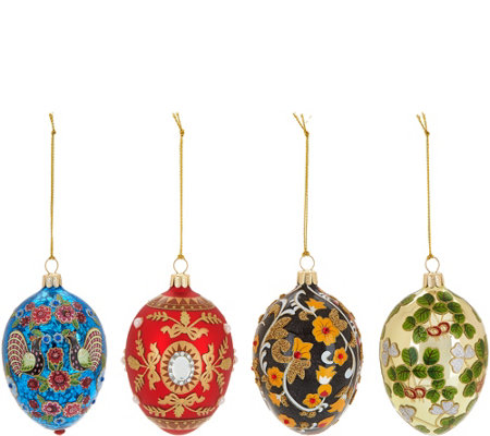 """As Is"" Joan Rivers 2017 Set of 4 Russian Inspired Egg Ornaments"