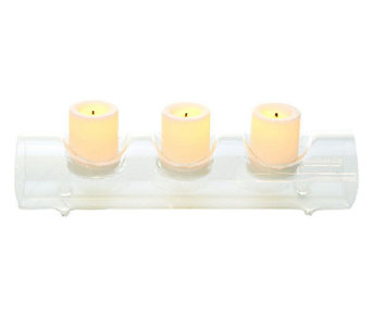 Candle Impressions Fillable Glass Log w/ 3 Flameless Votives - H282739