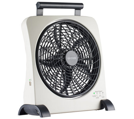 "O2Cool 10"" SmartPower Fan with USB Power Port &Adapter"