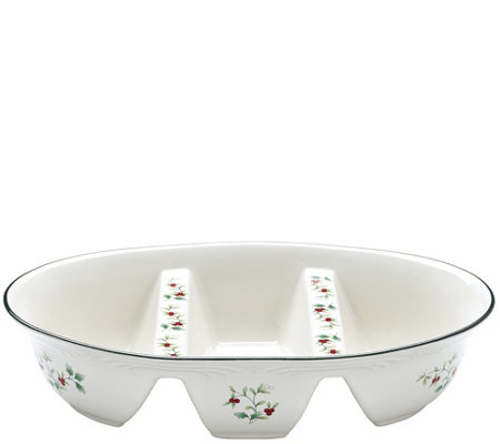 Pfaltzgraff Winterberry Three-Section Divided Serve Bowl