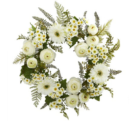 "24"" Mixed Daisy Wreath by Nearly Natural"