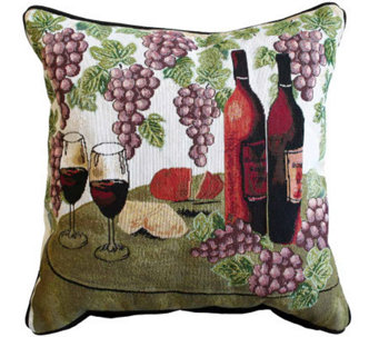 Wine Table 18&quot x 18&quot Tapestry Decorative Pillow - H349339