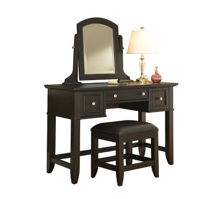 Home Styles Bedford Black Vanity Table & Bench