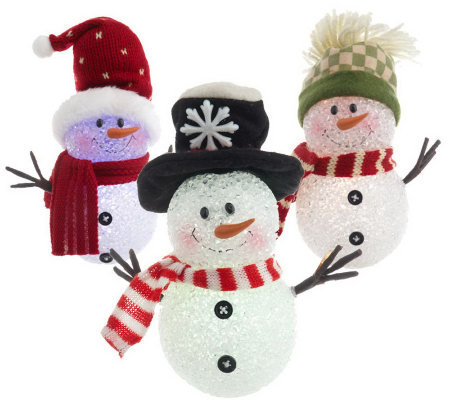 BethlehemLights Set of 3 BatteryOperated Snowmen w/LED Lights