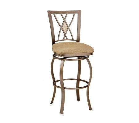 Hillsdale House Brookside Diamond Fossil Back Swivel Bar Stool