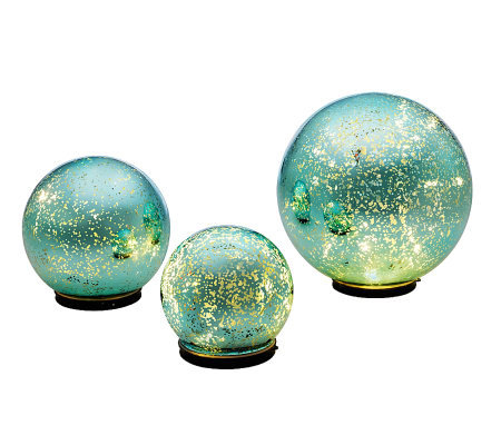 Set of 3 Lit Indoor Outdoor Mercury Glass Spheres by Valerie