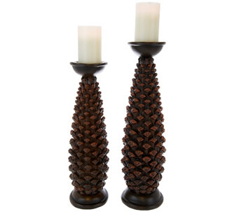 Graduated Set of 2 Pillars with Flameless Candles by Home Reflections - H203040