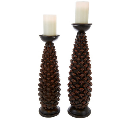Graduated Set of 2 Pillars with Flameless Candles by Home Reflections