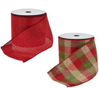 "2-piece 4"" Wide Ribbon in Red and Plaid by Valerie - H205340"