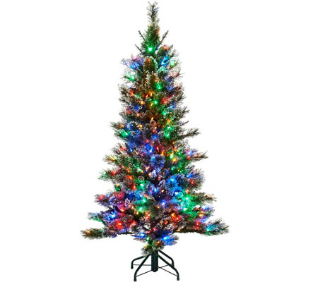 Kringle Express 5' Glittery Pine Tree w/ LED Color Changing Lights