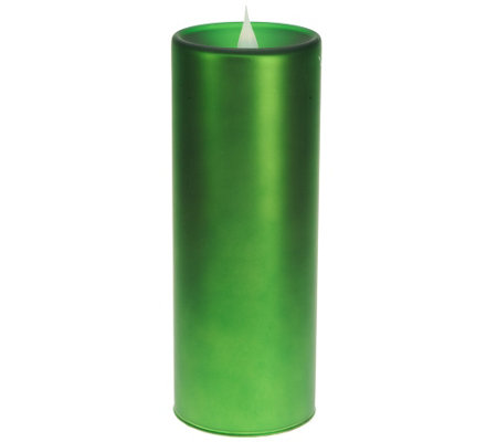 """As Is"" Solare 8"" Frosted Glass Flameless Candle with Multi-Hue"