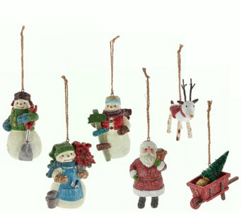 "Hallmark Set of 6 3.5"" Designer Iconic Holiday Ornaments - H208740"