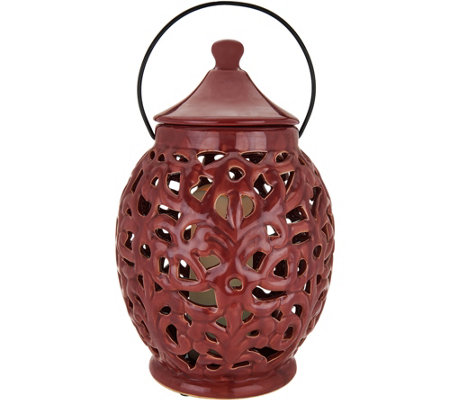 "Illuminated Indoor/Outdoor Ceramic 15"" Hurricane by Valerie"