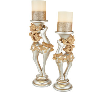 Kringle Express S/2 Reindeer Candle Holders with Flameless Candles - H211640