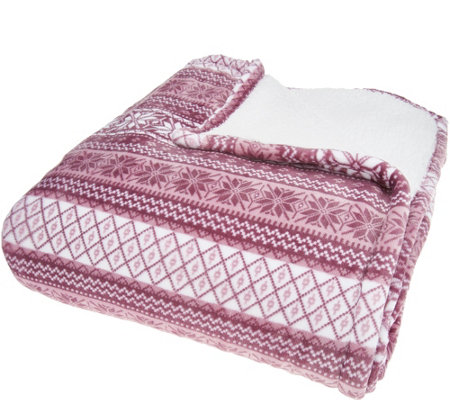Berkshire King Fair Isle Velvet Soft Reverse to Sherpa Blanket