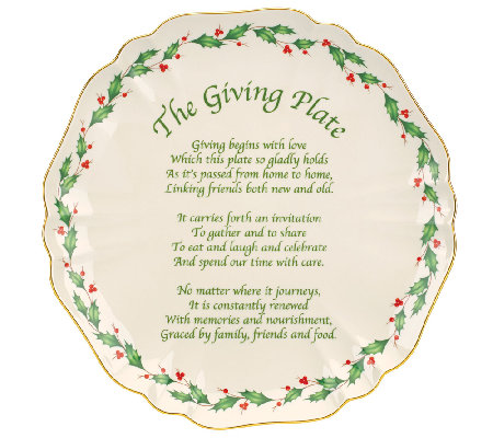"Lenox Holiday 11"" Carved Giving Plate"