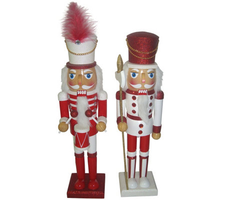 "S/2 15"" Candy Cane Drizzle Nutcrackers by Santa's Workshop"