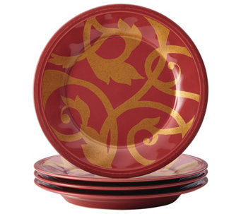 Rachael Ray Dinnerware Gold Scroll 4-Piece Salad Plate Set - H290240