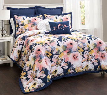 Floral Watercolor 7-Piece King Comforter Set byLush Decor - H290640
