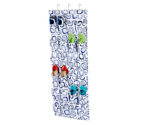 Honey-Can-Do 24-Pocket Over-the-Door Shoe Organizer-White/Blu