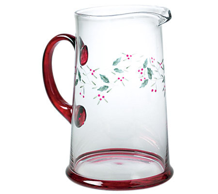 Pfaltzgraff Winterberry Glass Water Pitcher, 2.5 qt