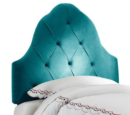 Kids Full Arched Tufted Ultra Microsuede Upholstered Headboar