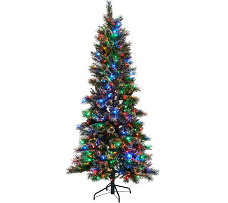 Kringle Express 6.5' Glittery Pine Tree w/ LED Color Changing Lights