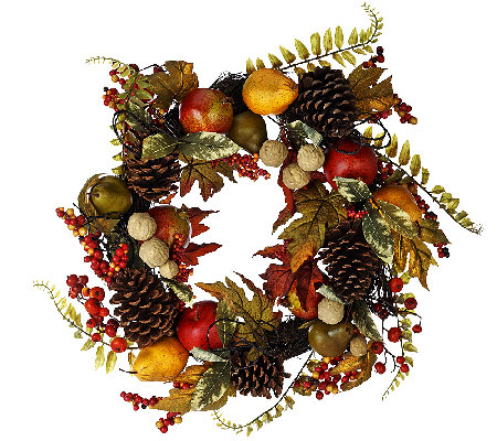 "24"" Fruit and Berry Wreath with Pinecones by Valerie"
