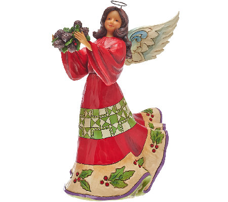 "Jim Shore Heartwood Creek 9 1/2"" Angel w/ Holly Figurine"