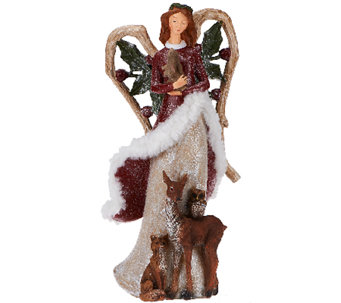 """As Is"" Frosted Woodland Angel with Animals by Valerie - H208141"
