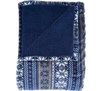 Berkshire Blanket Full Fair Isle Reverse to Sherpa Blanket - H209041