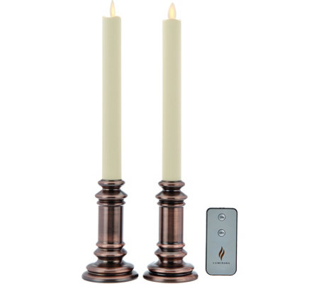 "Luminara Set of 2 ""Soft Touch"" Flameless Window Candles with Remote"