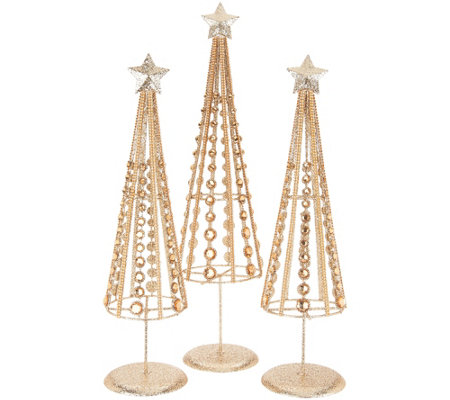 Set of 3 Graduated Glittered Jeweled Trees by Valerie