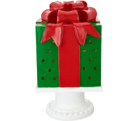 "Kringle Express 13"" Illuminated Pierced Holiday Present on Pedestal"