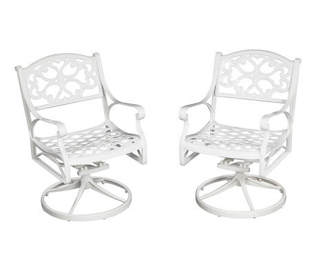 Home Styles Biscayne Outdoor Swivel Chair - White Finish