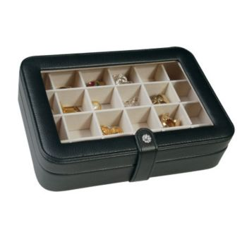 Mele Faux Leather Crystal Jewelry Box with 24 Sections