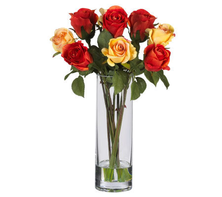 Roses w/Glass Vase Flower Arrangement by NearlyNatural