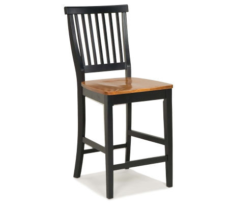 Home Styles Kitchen Stool - Black with Oak Seat