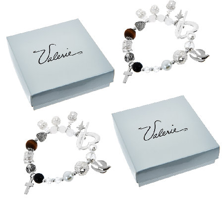 "S/2 Christ's Story 7-1/4"" Bracelets with Gift Boxes by Valerie"