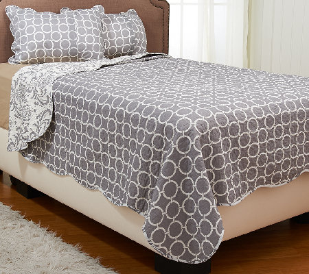 Monaco 100% Cotton Reversible Quilt Set with Sham(s)