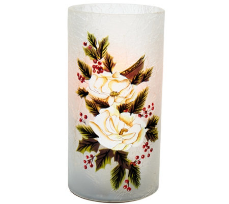 "Candle Impressions 7"" Hand Painted Holiday Luminary Vase"