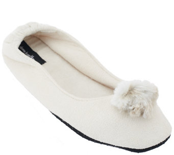 """As Is"" Dennis Basso Faux Suede Slipper with Pom Pom Faux Fur Trim - H208142"