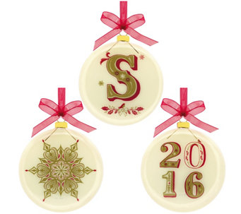 "Hallmark 2016 Commemorative Monogrammed 3.5"" Glass Blown Ornaments - H208742"