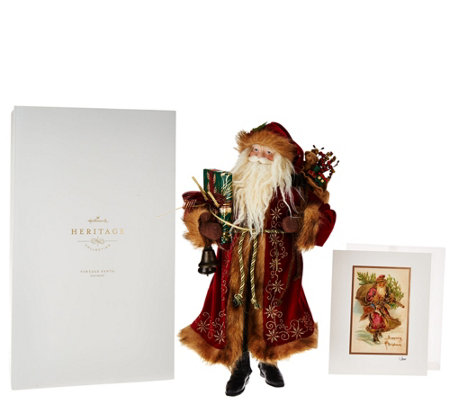 "Hallmark 18.5"" Heritage Santa w/ Inspiration Print and Gift Box"