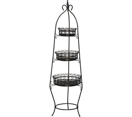 3-Tier Scroll Basket Floor Stand