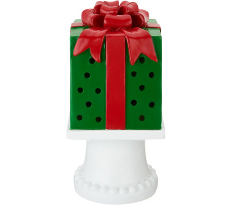 "Kringle Express 10"" Illuminated Pierced Holiday Present on Pedestal"