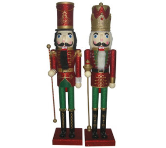 "S/2 36"" Metallic Christmas Nutcrackers by Santa's Workshop - H289542"